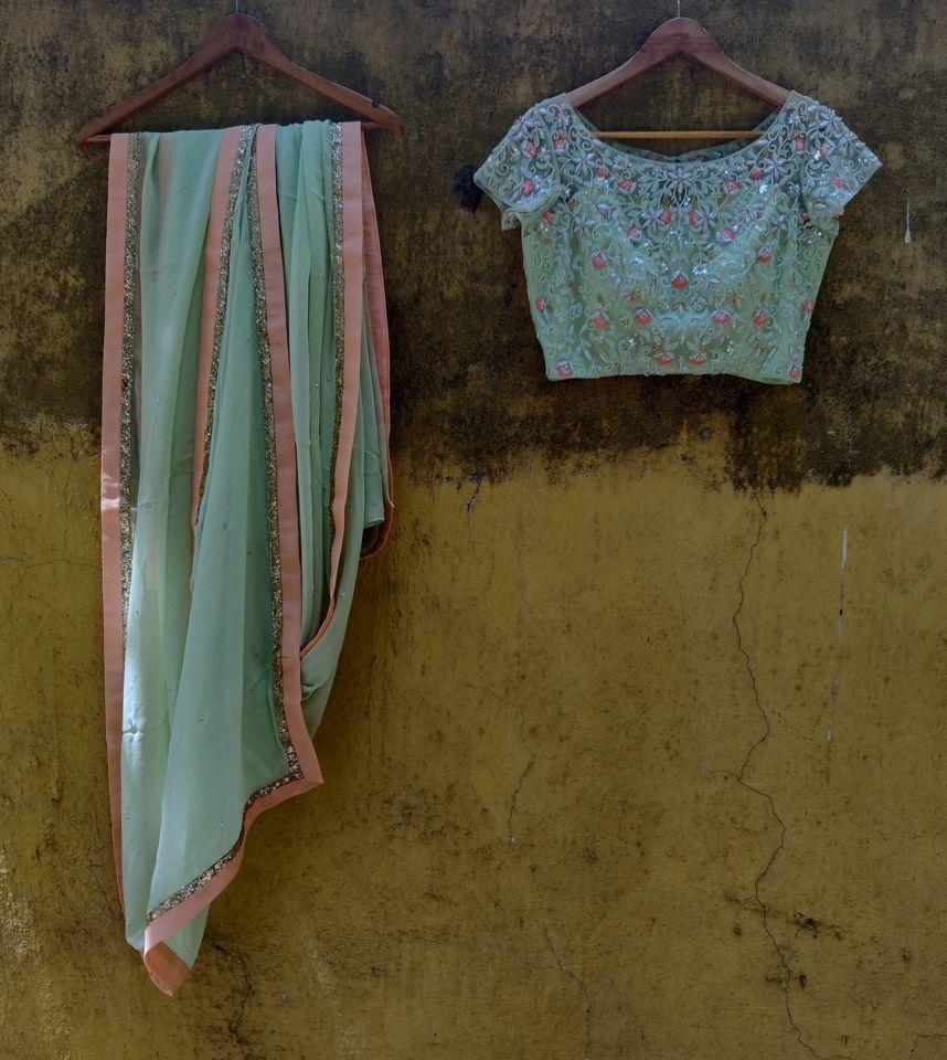 Sap Green Georgette Saree - Fashion Brand & Designer Priti Sahni 2