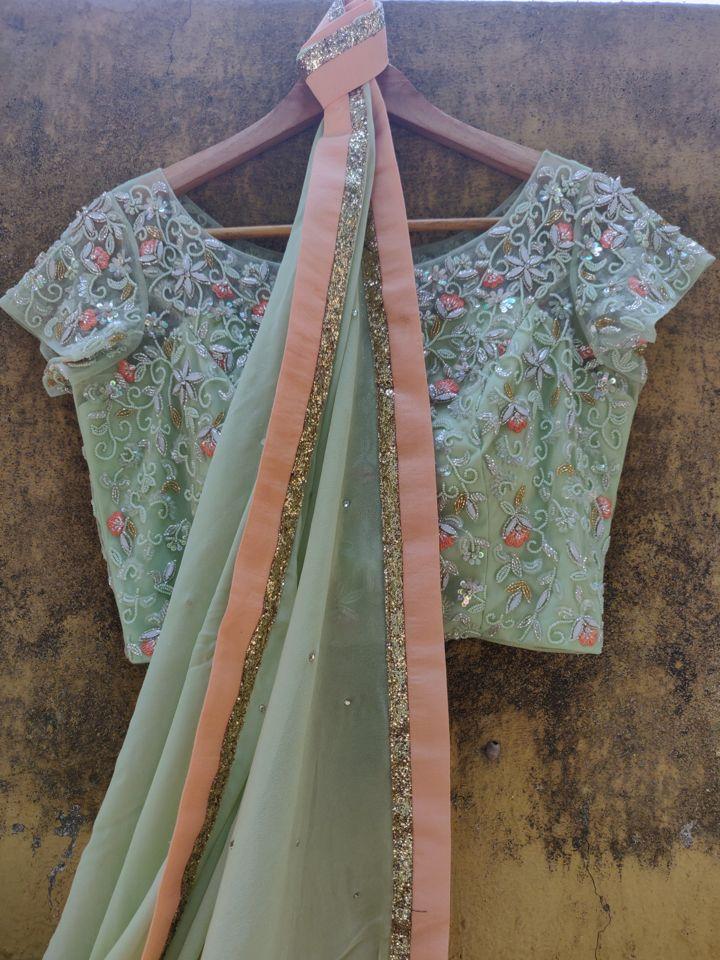 Sap Green Georgette Saree - Fashion Brand & Designer Priti Sahni 3
