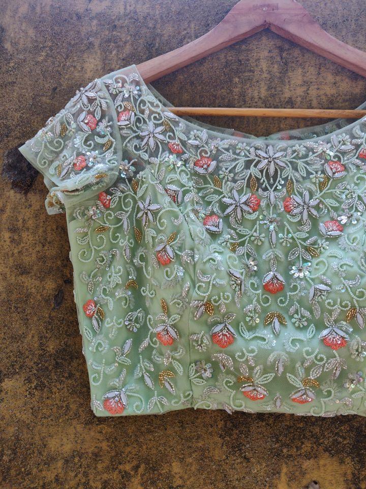 Sap Green Georgette Saree - Fashion Brand & Designer Priti Sahni 5