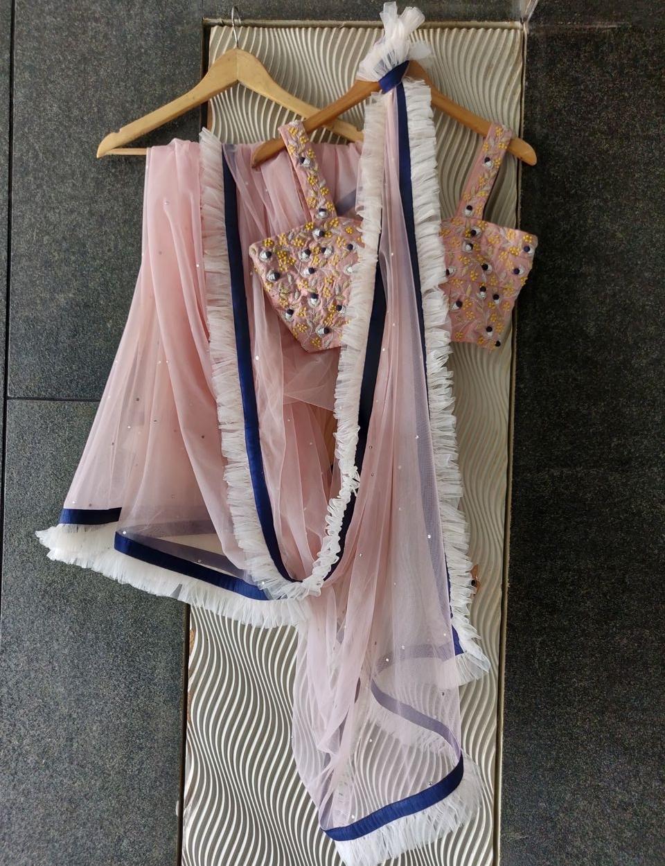 Nude Pink Net Saree