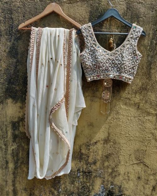 Ivory Mirror Saree - Fashion Brand & Designer Priti Sahni