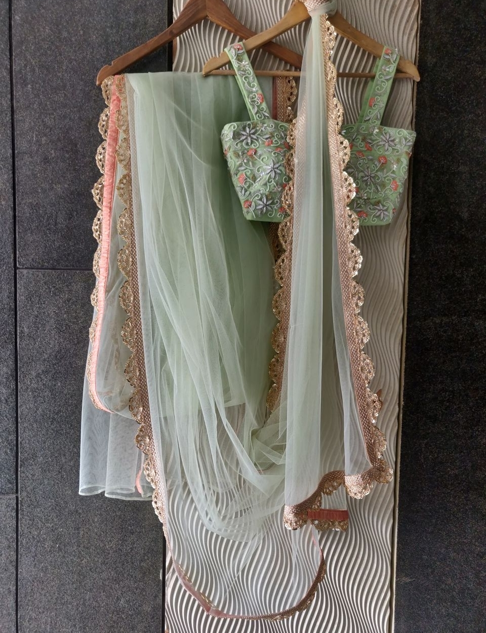 Apple Green Saree with Stone Work Blouse