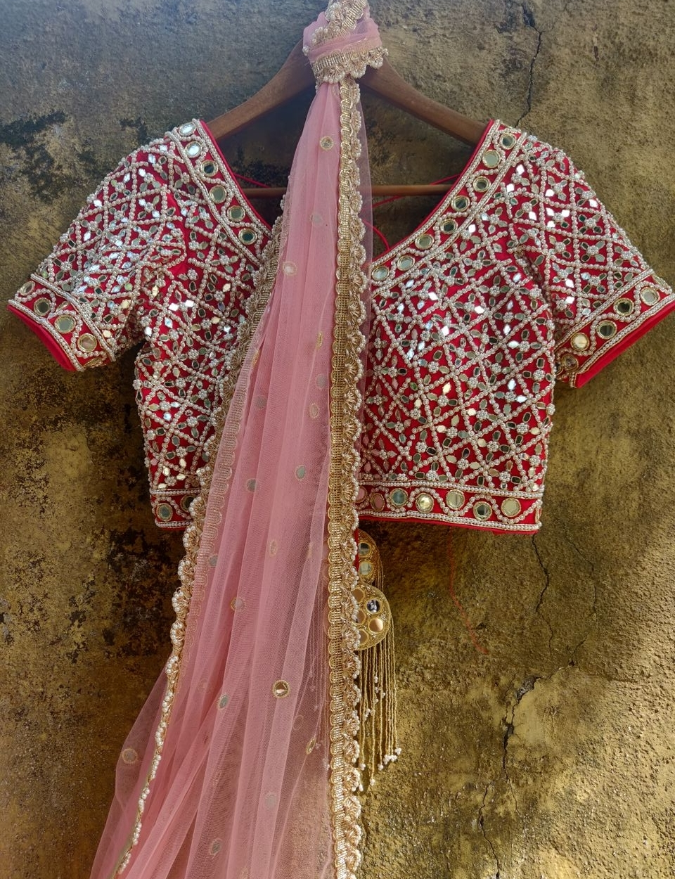 Blush Net Saree with Red Mirror Blouse