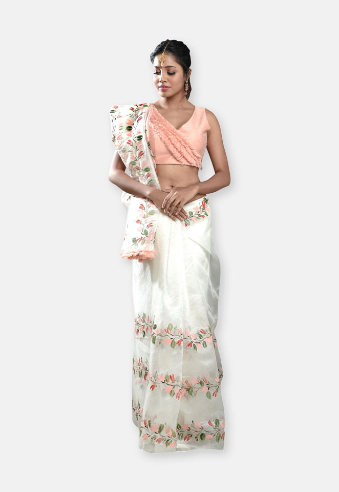 Ivory Hand Painted Saree with Peach Blouse