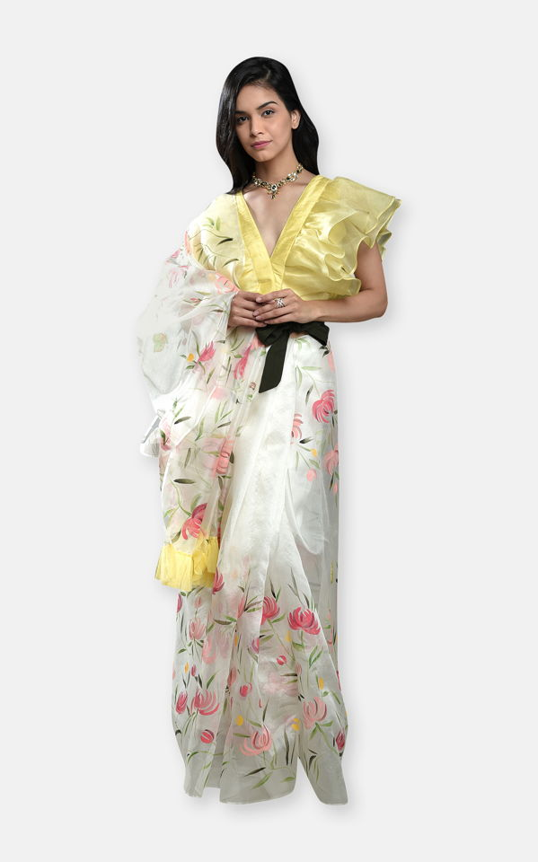 Ivory Hand Painted Saree with Yellow Ruffle Blouse