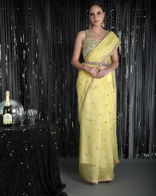 Lemon Yellow Pure Silk Organza Saree with Mirror