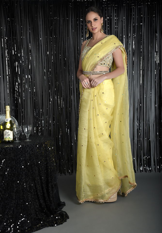 Lemon Yellow Pure Silk Organza Saree with Mirror - Fashion Brand & Designer Priti Sahni 3