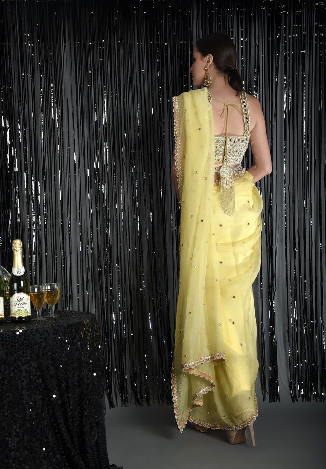 Lemon Yellow Pure Silk Organza Saree with Mirror