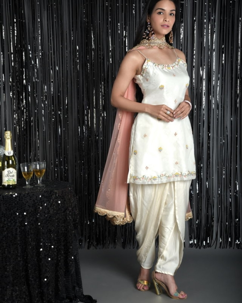 Ivory Organza Embroidered Slip Kurti Set