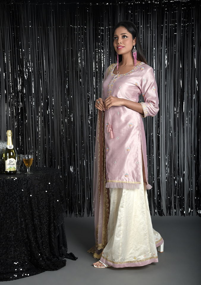 Pink Chanderi Kurti and Palazzo Set