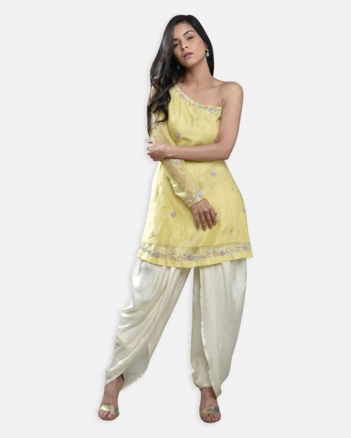 Lemon Yellow Organza Kurti Set