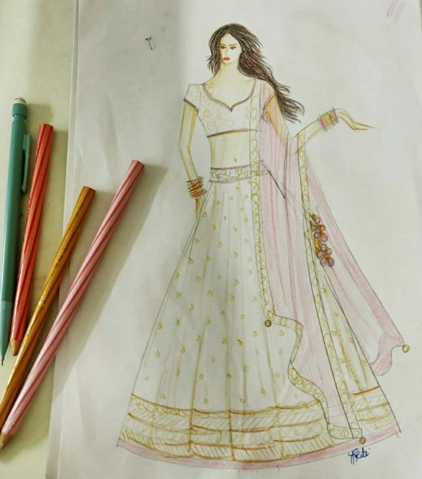 Sketch - Making of Niti's Bridal Outfit