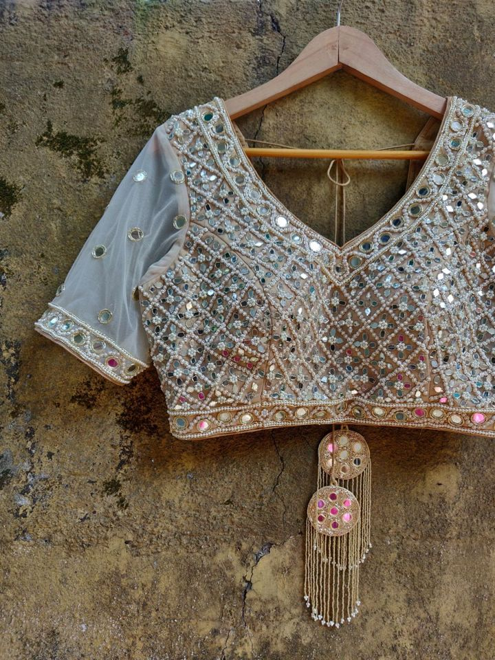 Mirror Tie Up Blouse with Sheer Sleeves