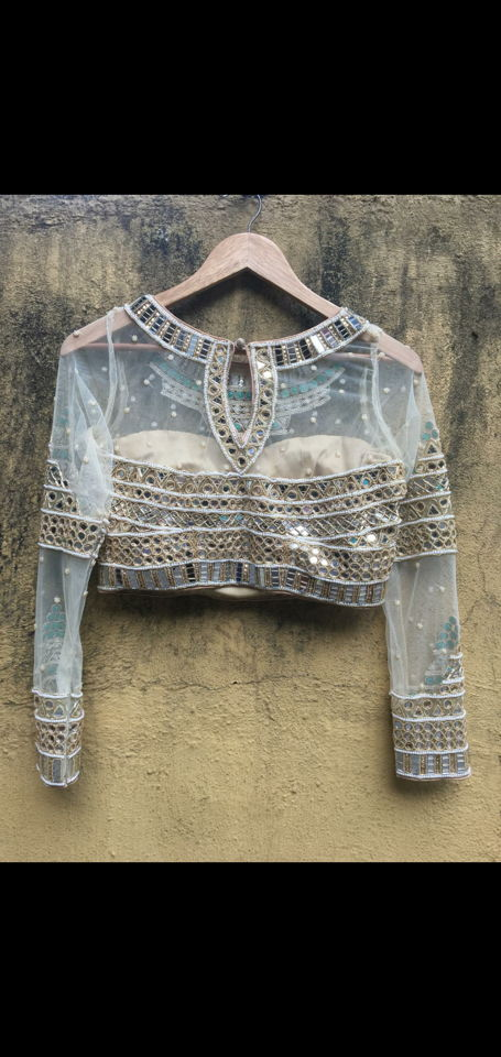 Mirror Placement Embroidered Blouse