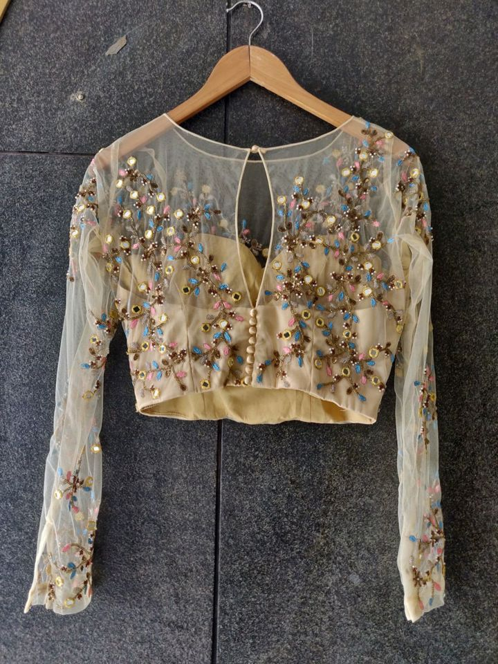 Nude Mirror and Thread Work Blouse