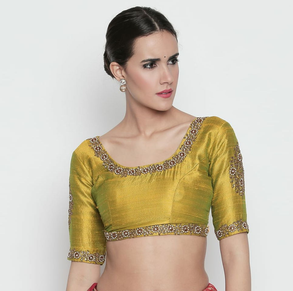 Olive Raw Silk Blouse with Kundan Work