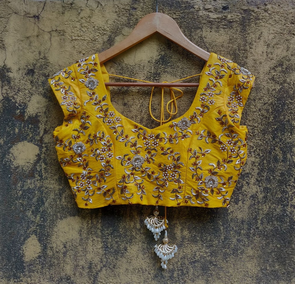 Yellow Raw Silk Zarodozi Work Blouse