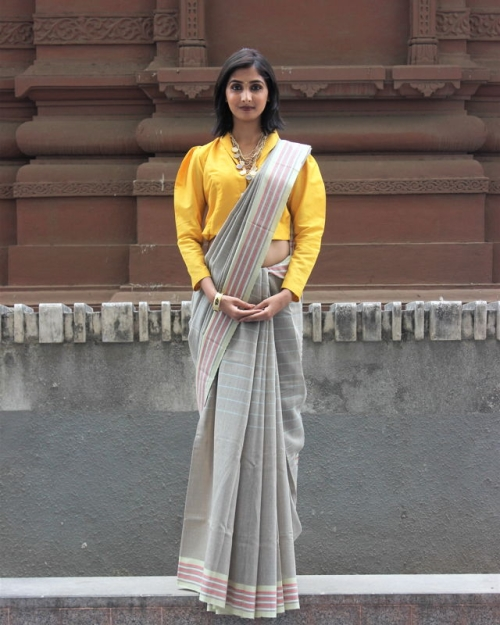 Grey Mulberry Silk Saree