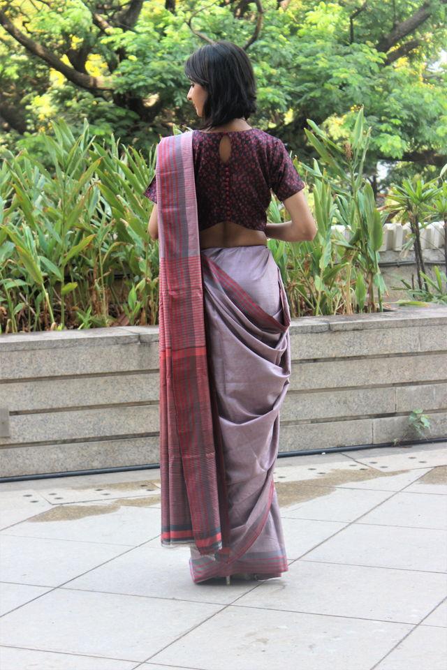 Violet Tusser Silk Saree