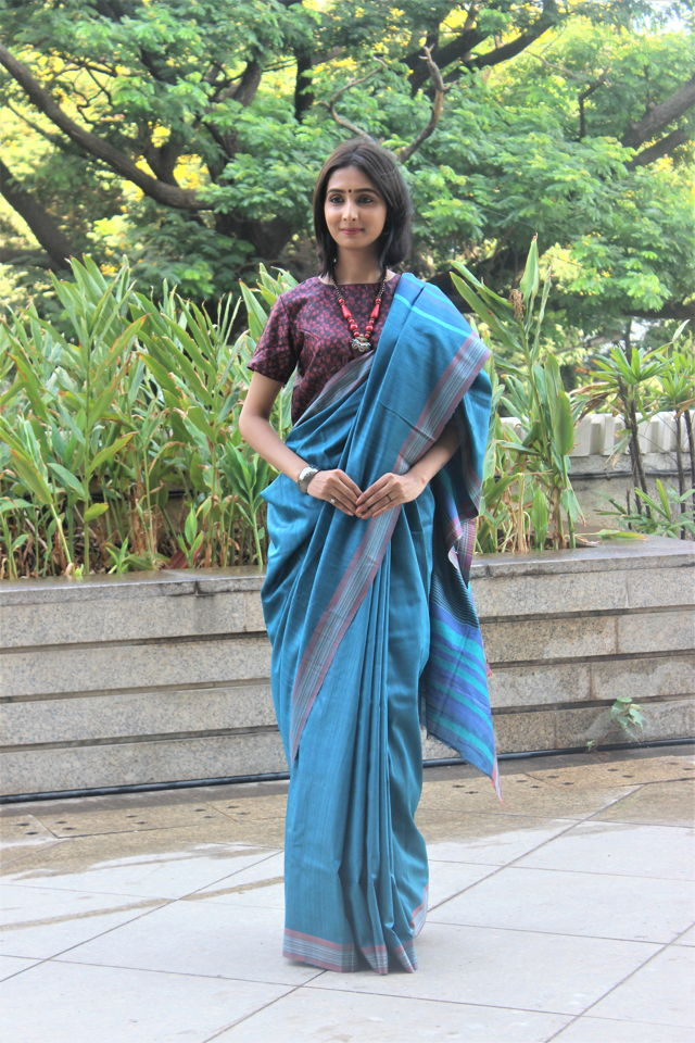Blue Tusser Silk Saree