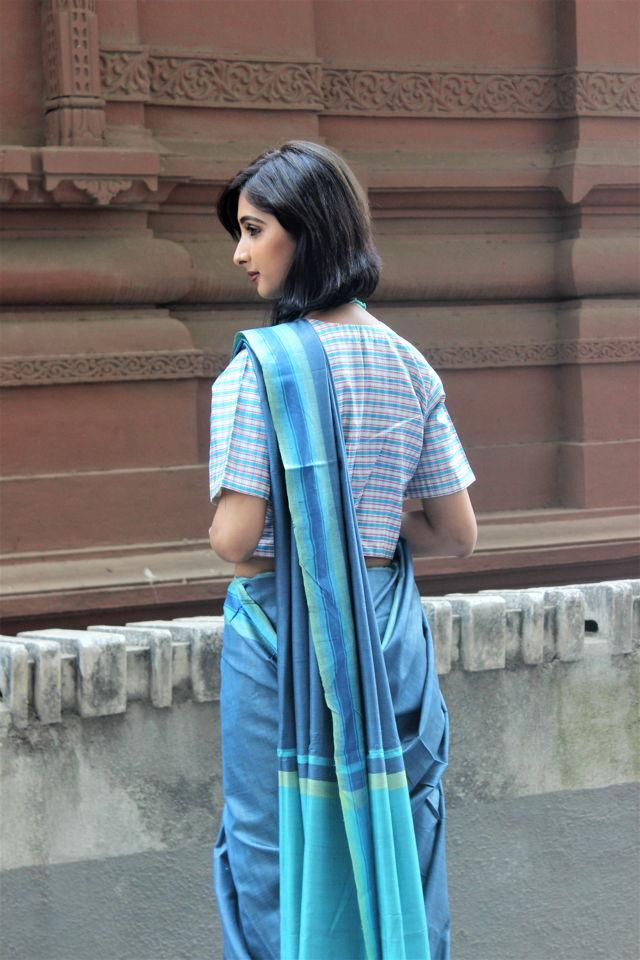 Sky Blue Tusser Silk Saree