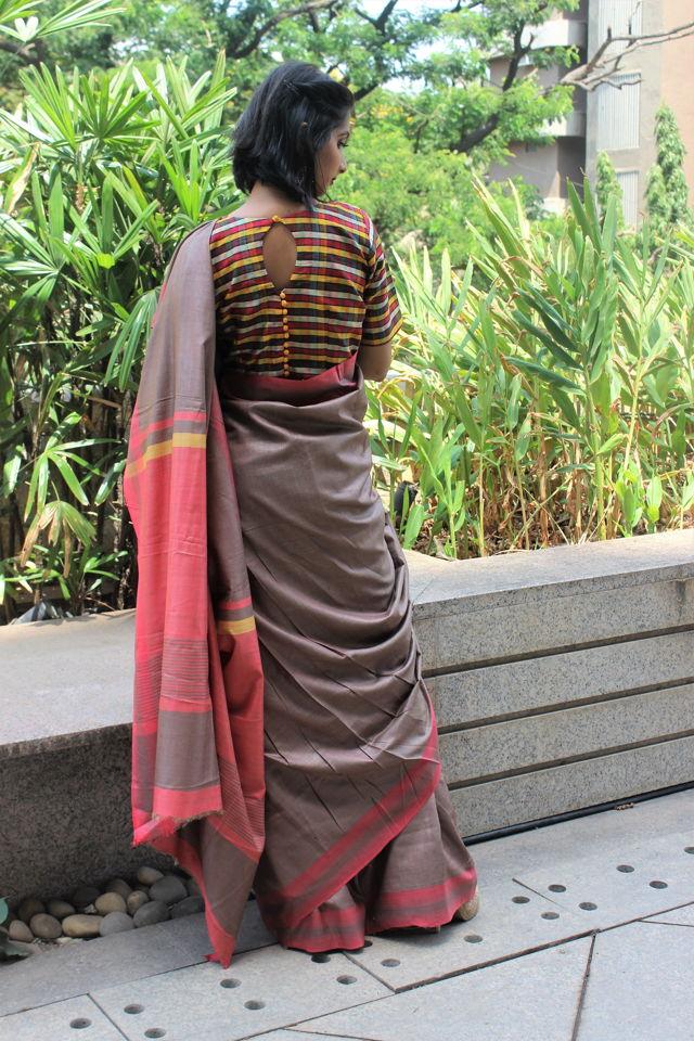 Beige Tusser Silk Saree