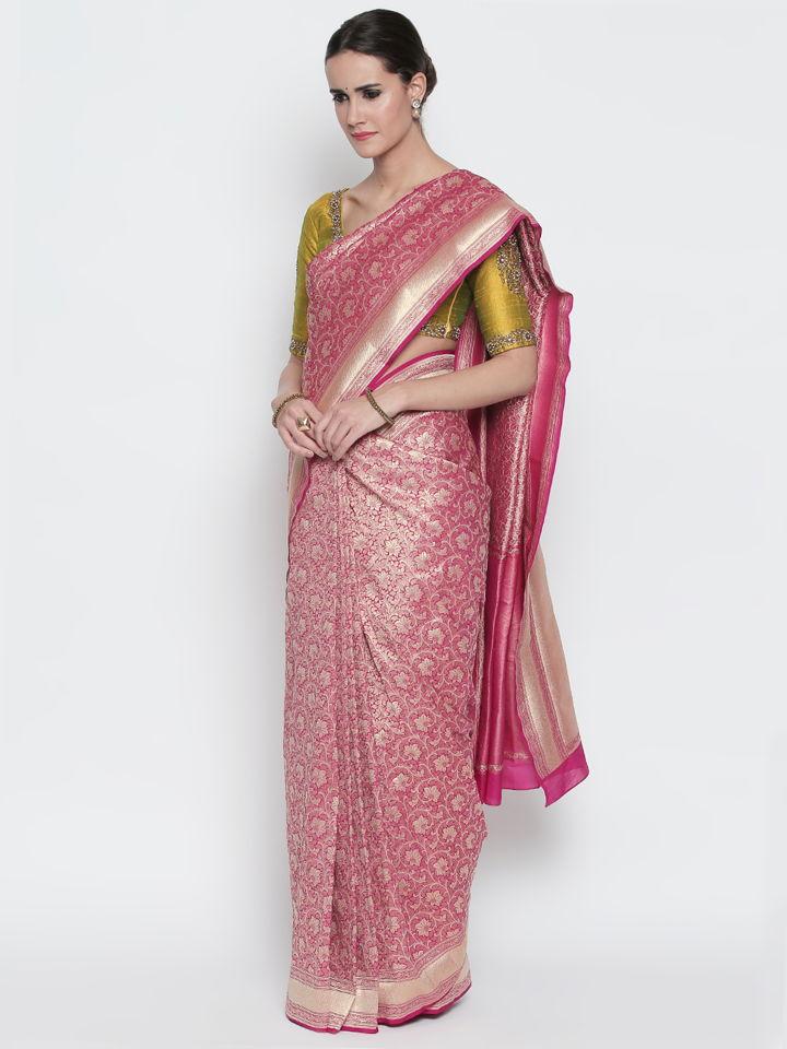 Magenta Benarasi Silk Saree