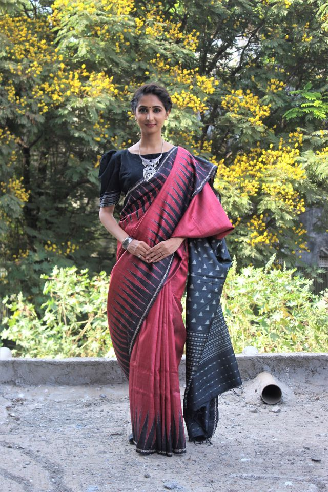 Crimson Tusser Silk Saree