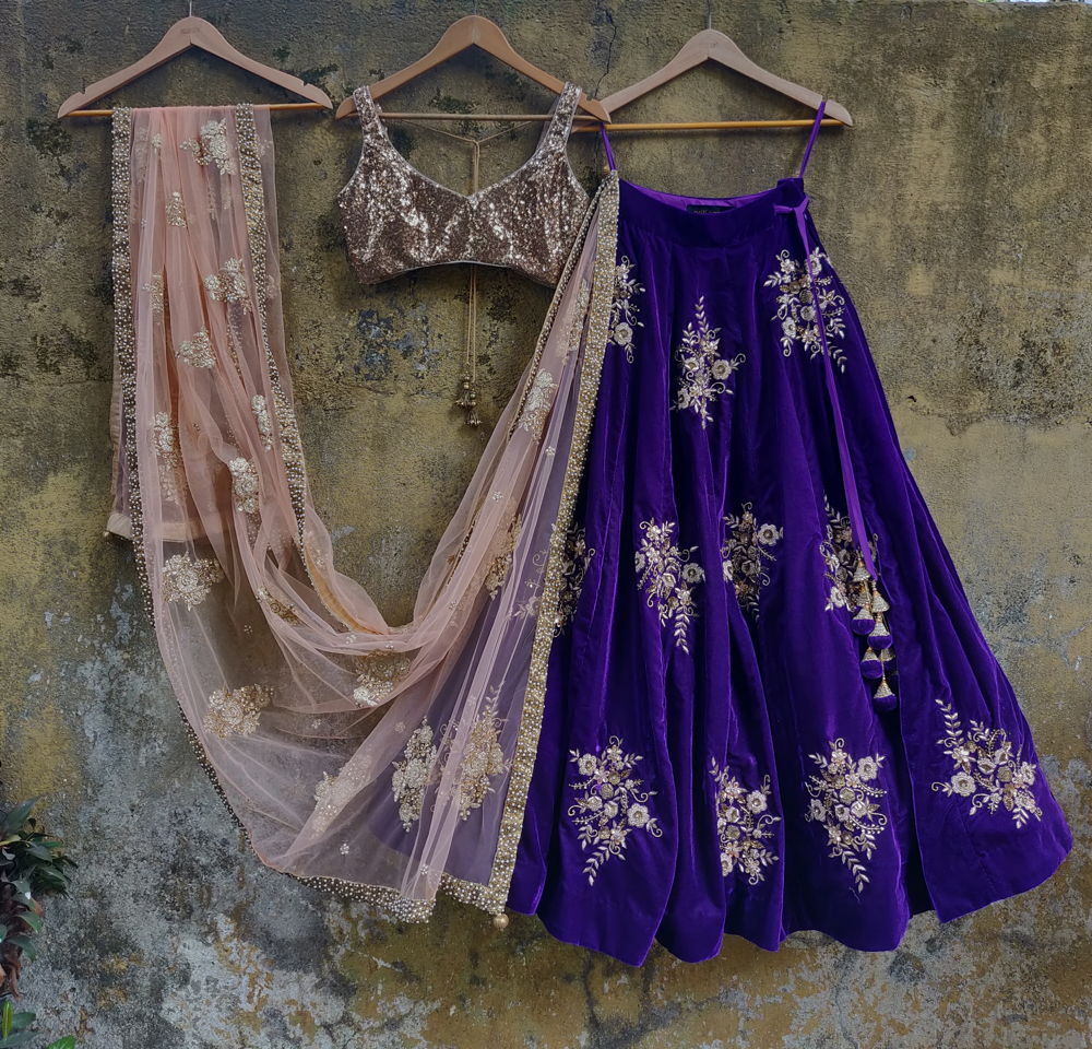 Purple Velvet and Golden Lehenga Set