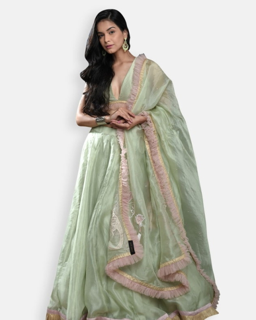 Apple Green Organza Lehenga Set