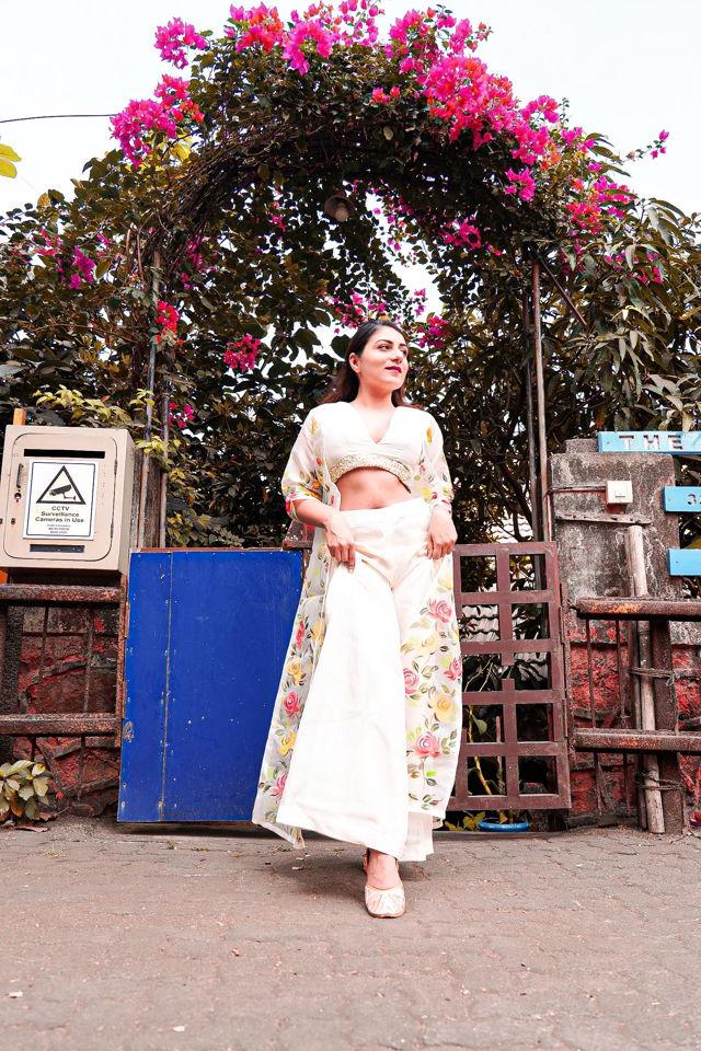 Ivory Palazzo with Hand Painted Long Jacket - Fashion Brand & Designer Priti Sahni 4