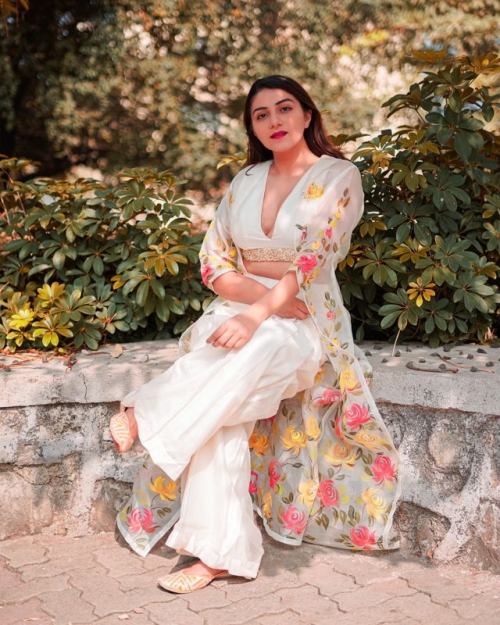 Ivory Palazzo with Hand Painted Long Jacket - Fashion Brand & Designer Priti Sahni