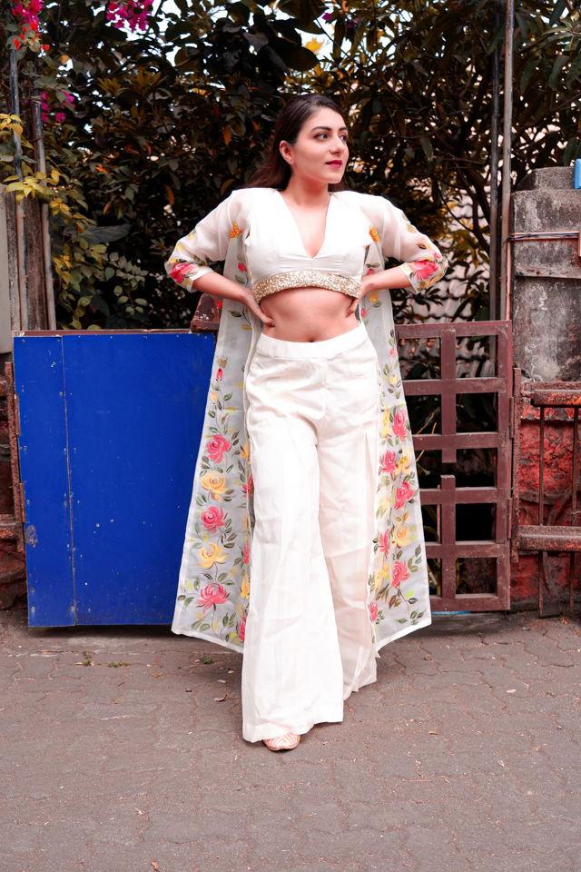 Ivory Palazzo with Hand Painted Long Jacket - Fashion Brand & Designer Priti Sahni 3