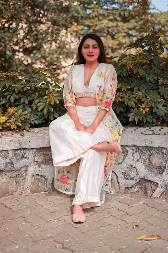 Ivory Palazzo with Hand Painted Long Jacket - Fashion Brand & Designer Priti Sahni 2