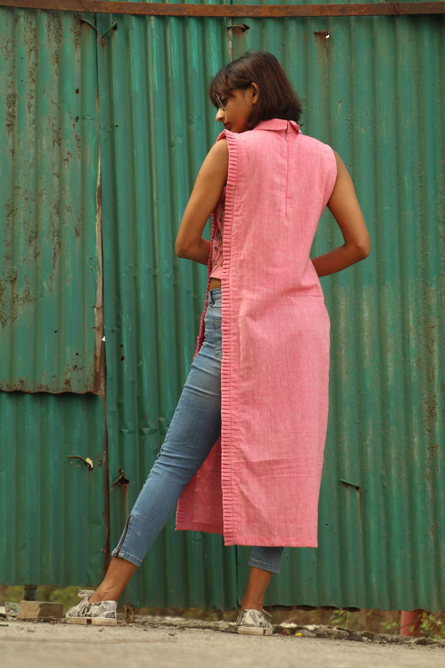 Pink Handwoven tunic