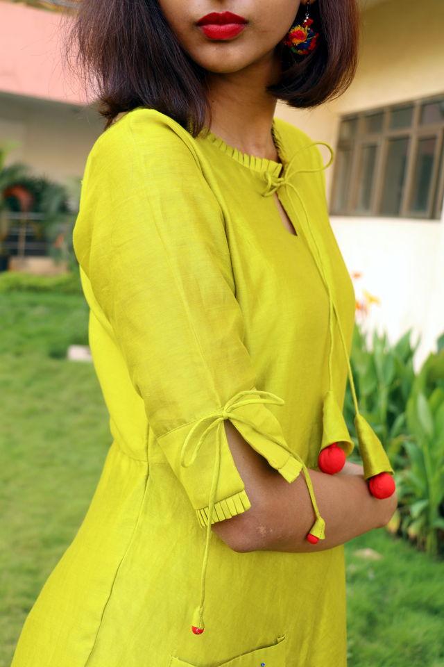 Olive Green Chanderi Dress