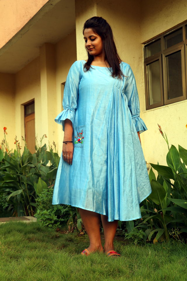 Sky Blue Chanderi Dress