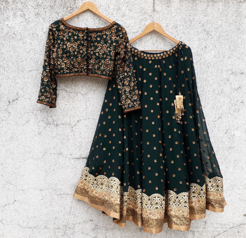 Deep Green Sequin and Zardozi Lehenga Set