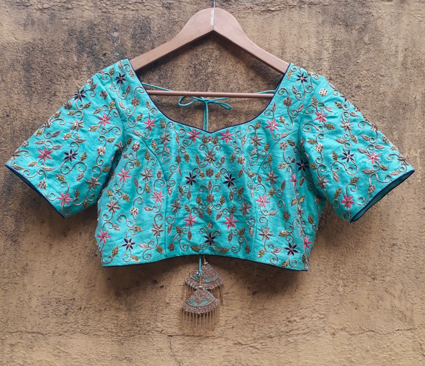 Mint and Blue Elephant Work Lehenga