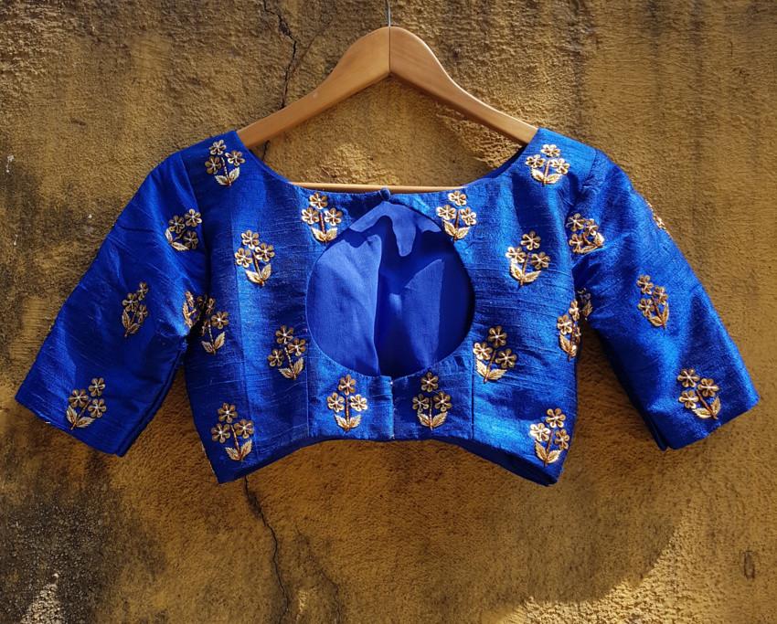 Royal Blue Raw Silk Butti Work Lehenga Set
