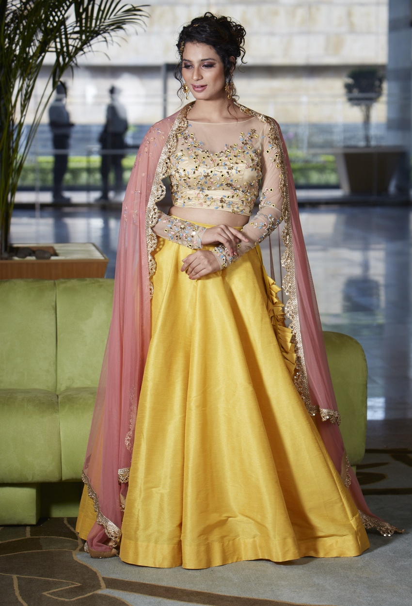 Mustard and Mirror Lehenga