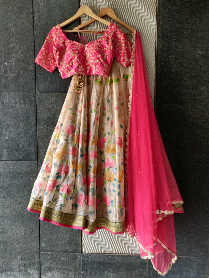Ruby Pink and Nude Hand Painted Lehenga Set