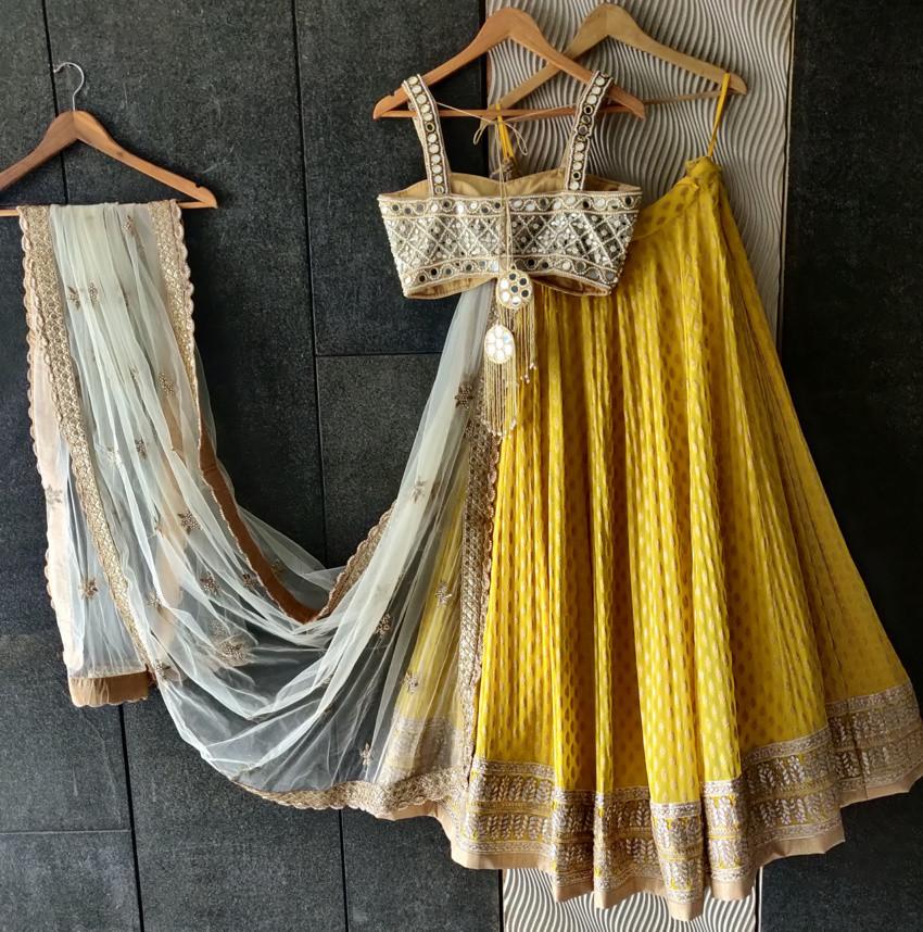 Yellow Mirror Bustier Lehenga