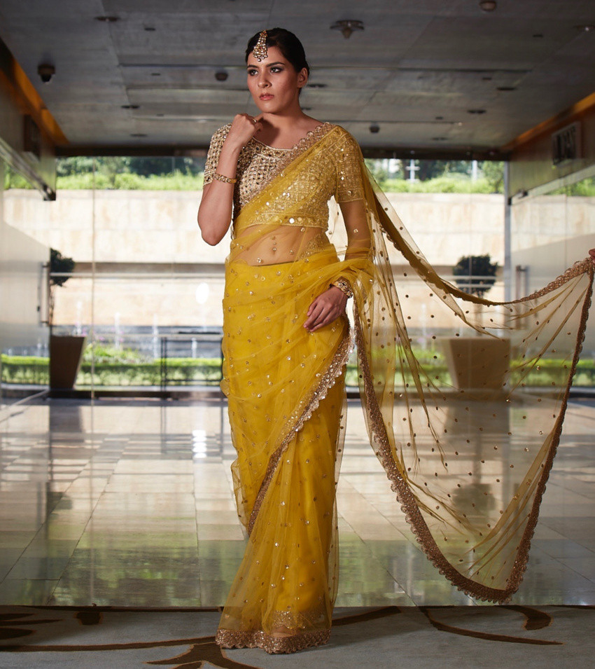 Mustard Net Saree with Red Mirror Blouse