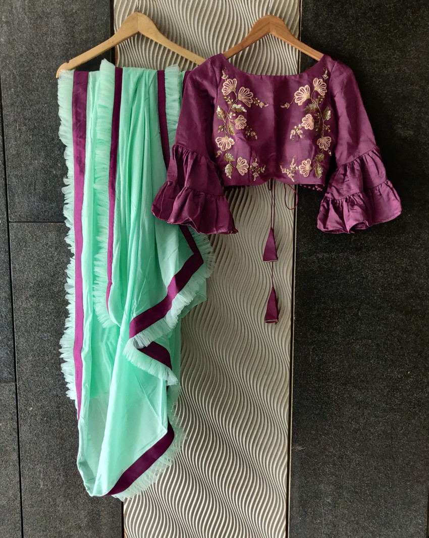Mint and Wine Ruffle Saree