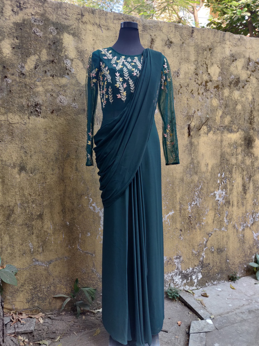 Deep Green Saree Gown