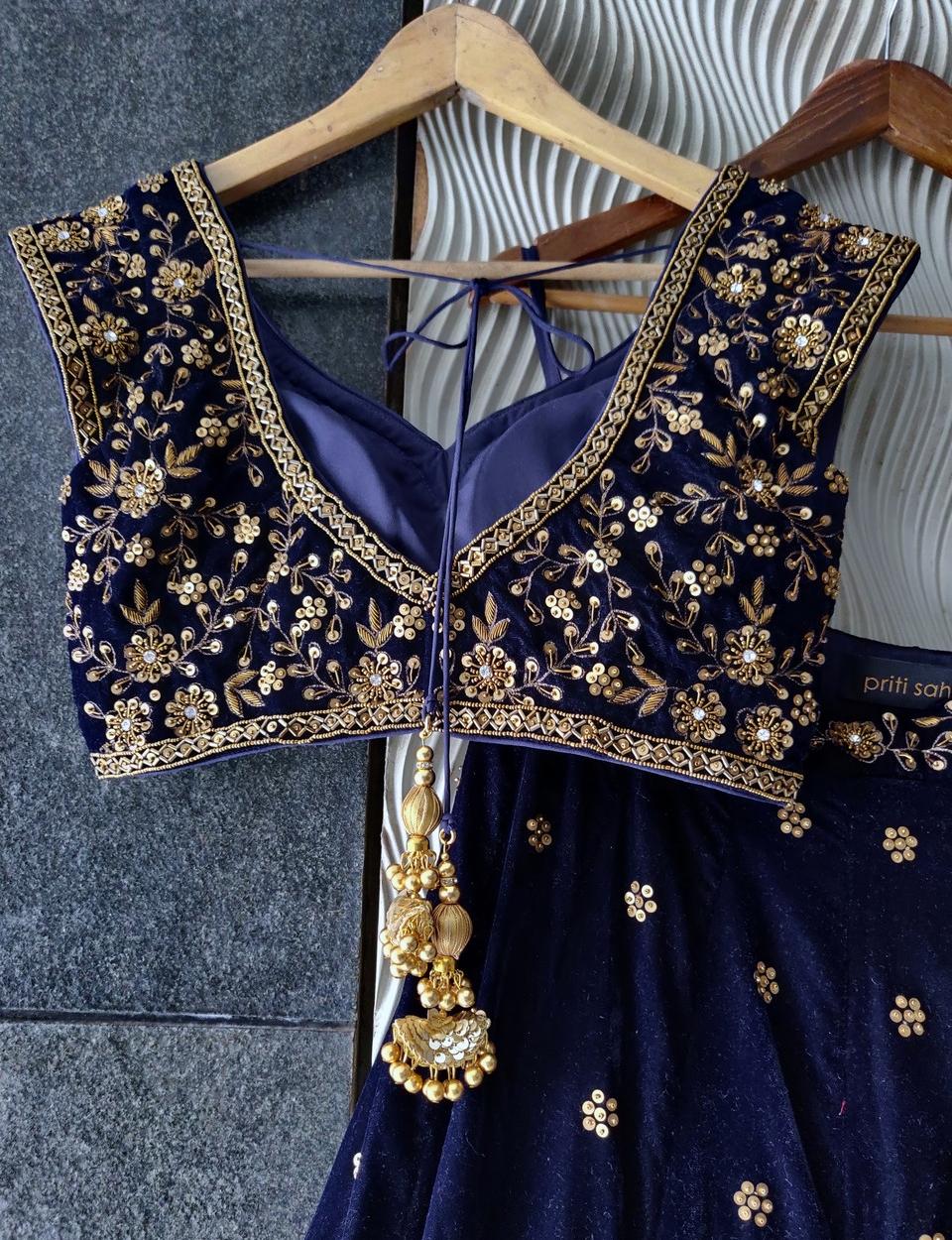 Midnight Blue Velvet Lehenga Set