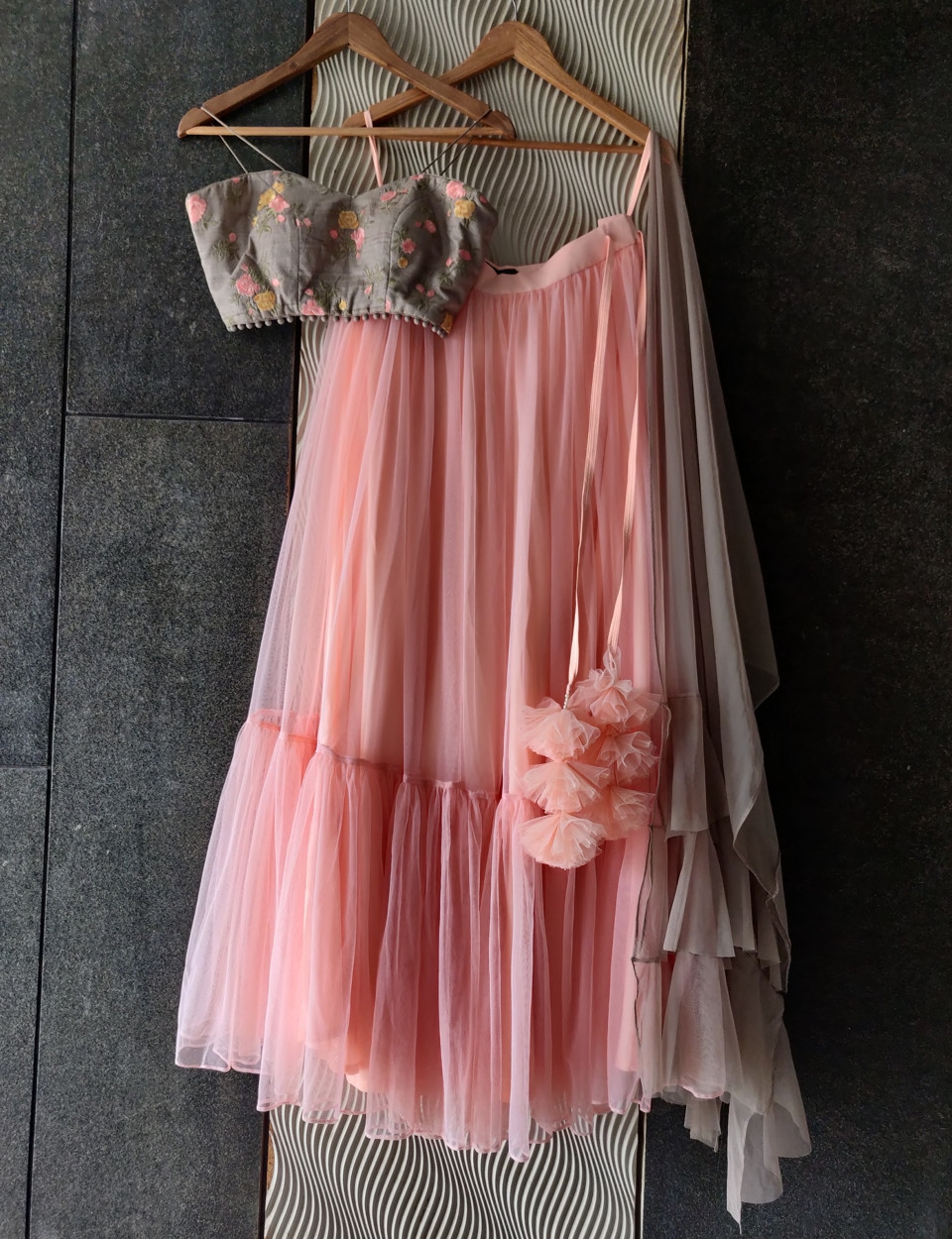 Grey and Pink Lehenga Set