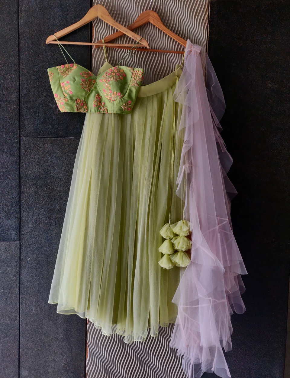 Floral Lime and Pink Lehenga Set
