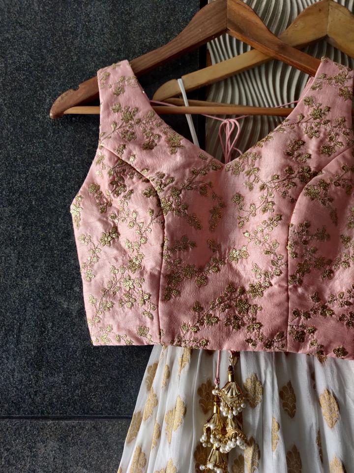 Ivory and Pink Ruffle Lehanga